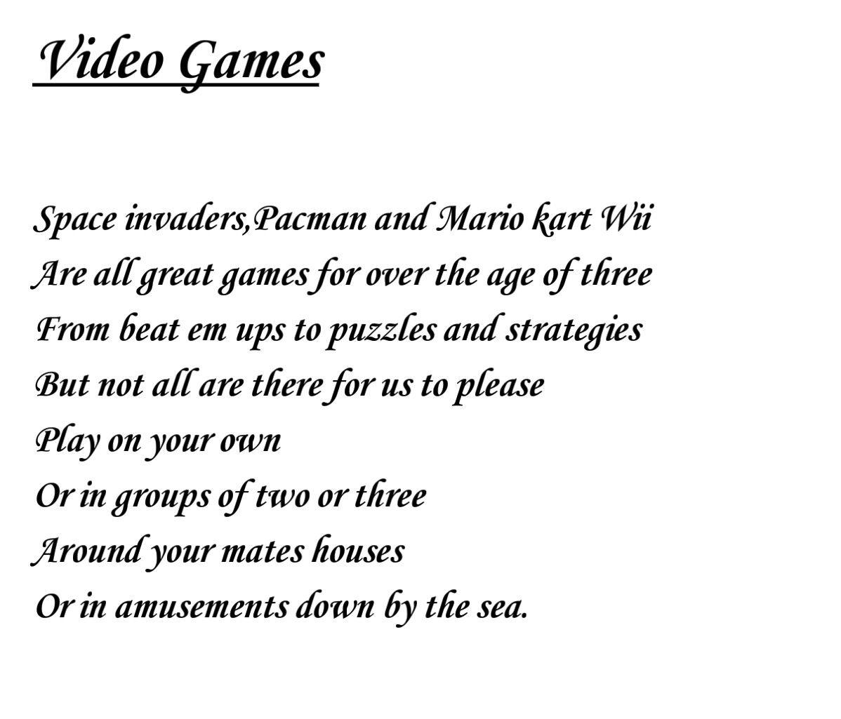 Porky reccomend Poems about video games