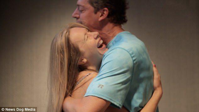 Hugging girl causes orgasm