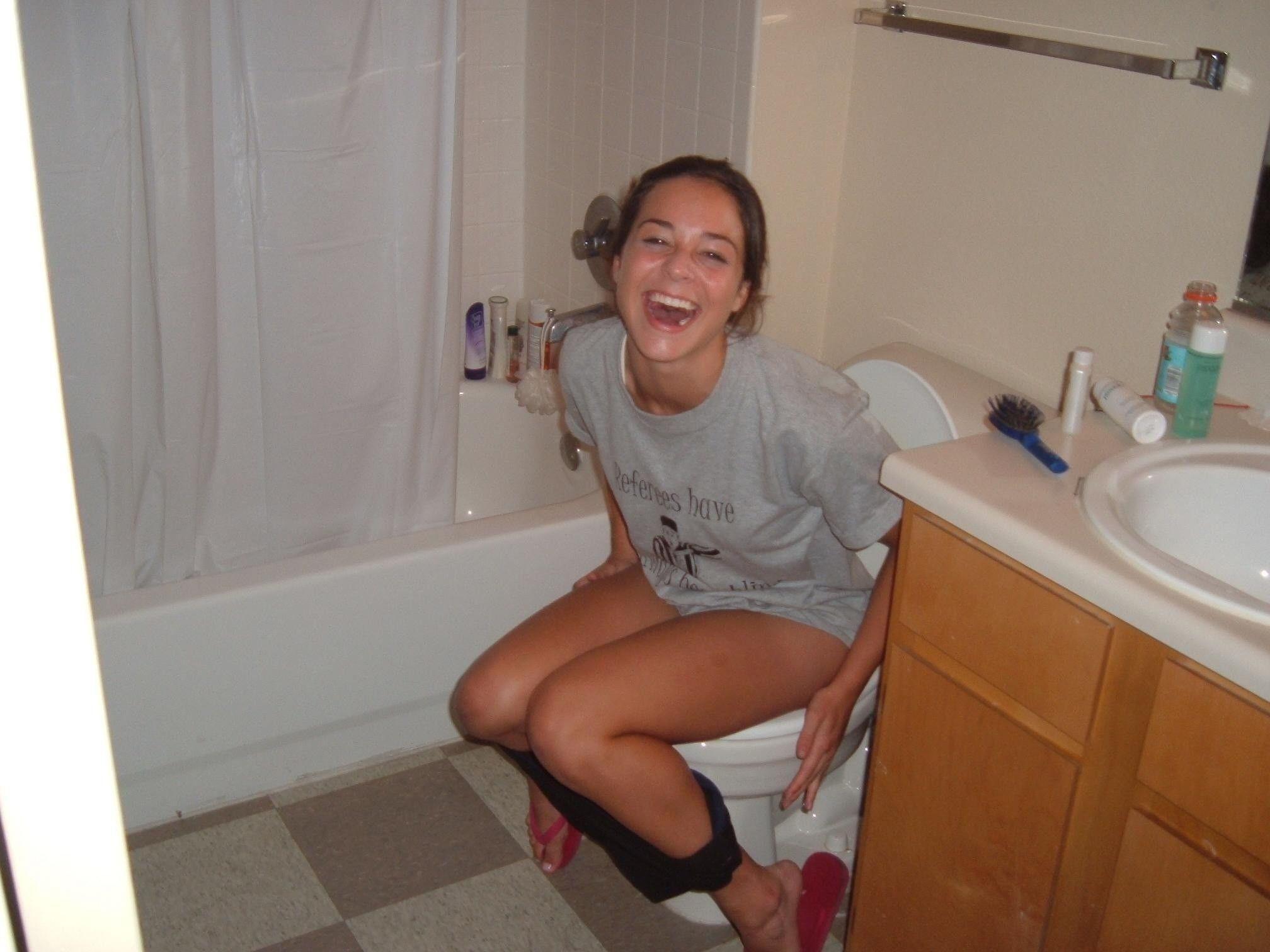 Naked girl peeing in public bathroom sink interesting. You