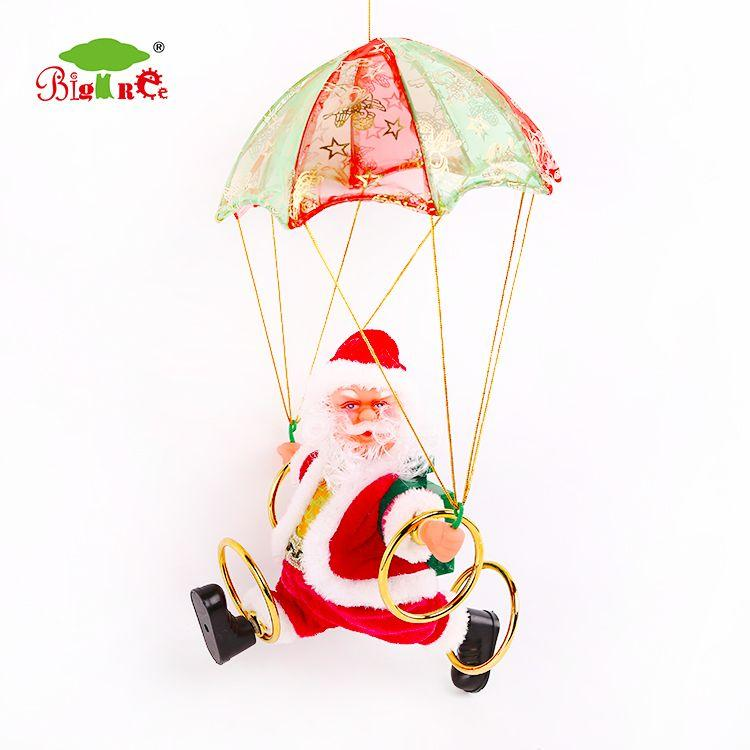 Swinging parachuting santa claus