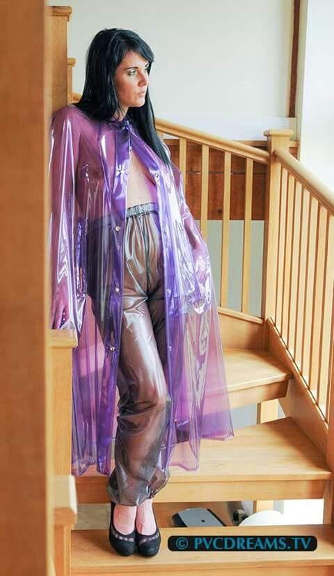 Plastic transparent pants fetish